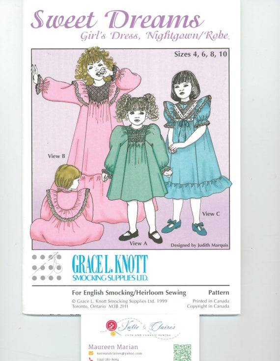 Sweet Dreams, girls dress, nightgown or robe pattern, Grace L. Knott, Knott's dots, smocking dots, vintage