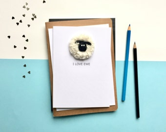 I love ewe - Valentines card - Sheep card - Funny card - card for girlfriend - card for wife - Card for husband - card for boyfriend
