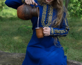 "Medieval blue long wool dress ""Sapphire""."