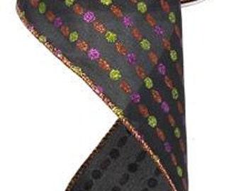 "RIBBON - Wired Ribbon - Halloween Ribbon - Black Ribbon - Purple Ribbon - Wreath - Floral Ribbon - 4"" x 10 Yards RW644202"