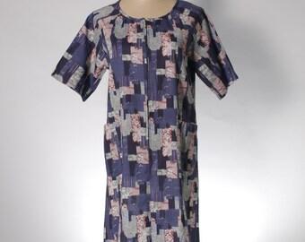 Vintage round neck navy house dress in Japanese pattern print