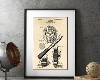 Farm House Decor, Fishing Reel Patent Illustration, Lake House Decor, Rustic Wall Art