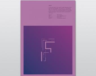 Letter F — letter print / letter poster / letter art / letter art prints / alphabet poster / alphabet print / alphabet letters