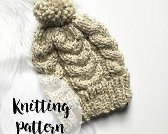 KNITTING PATTERN: Cable Knit Hat - Chunky Knit Hat - Winter Hat - Cabled Pom Pom Hat - Gift for Her