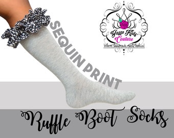 YKC Sequin Boot Socks, Grey Socks, Ruffle Boots Socks, Sequin Socks, Leg Warmers