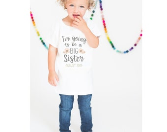 Big Sister Shirt, Sibling Shirt, Pregnancy Announcement Shirt, Due Date Shirt, Girls Sister Shirt, Max and Mae Kids Clothing