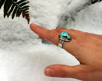 Turquoise Ring, Royston Turquoise Ring, Sterling Silver Ring, Woman's Turquoise Ring, Size 6.75 Ring