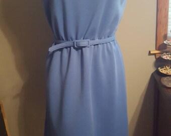 1960s Leslie Fay Blue Dress