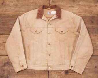 """Mens Vintage Carhartt Cotton Workwear Chore Jacket Beige Stone XL 50"""" R5493"""