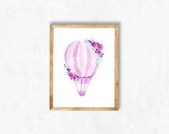 Pink Hot Air Balloon Watercolour Print (Choice of 8), baby girl, nursery decor, children's wall art, pastel, nursery art, art print