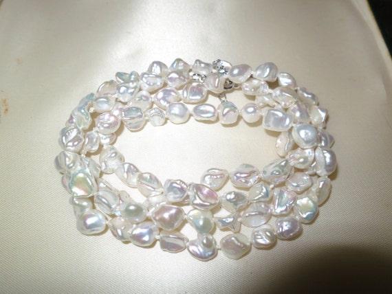 "Lovely new handmade genuine Keshi freshwater white rainbow pearl long necklace 32"""