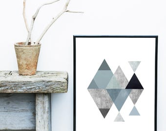 Triangle Print, Monochrome Art Print, Scandinavian Design, Mid Century Modern,  Abstract  Print,  Giclee print, Wall Art,  Wall Decor