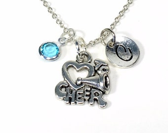 Gift for Cheerleader, I love to cheer Necklace, Silver Cheerleading Jewelry Charm Pendant Christmas Present Birthday birthstone Initial