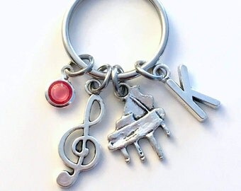 Piano KeyChain, Pianist Key Chain, Instrument Music Keyring Musician Gift for teen teenager teenage girl women woman boy present treble her