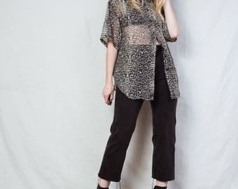 AMAZING Vintage Leopard Sheer Blouse / S / 90s hipster button up blouse goth shirt animal print top button down shirt