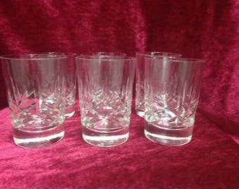 Cross and Olive Juice Glasses, Set of Ten Cross and Olive Crystal Juice Glasses