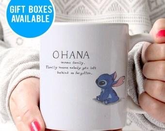 Cute Ohana Means Family Coffee Mug, Cute Stitch Mug, Movie Mugs