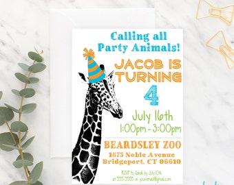 Zoo Birthday Invitation, Giraffe Invitation, Party Animal Invitation, Safari Birthday, Birthday Invitation, Wild Animals, Printable, Boy
