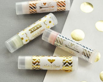 Personalized LOVE Metallic Foil Lip Balm Tubes - Bridal Party Gifts - Wedding Lip Balm Favors - Bridesmaids Gifts - Bridal Shower Favors