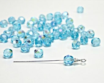 6mm, Blue Aquamarine AB, Czech Fire Polished, Faceted, Round Glass Beads (25pcs), DIY Jewelry, Bead Supply