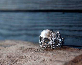 Sterling silver skull ring - Skeleton ring - Human skull ring - Biker ring - Geometric ring - Gothic skull - Post-apocalyptic ring