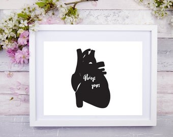 Anatomical Art Print - Human Heart Print - Medical Student Gift - Doctor Gift -Medical Valentine Day - Science Valentine Gift - Love Anatomy