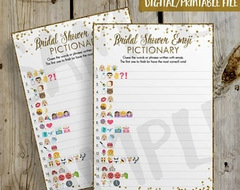 PRINTABLE Gold Glitter Confetti Bridal Shower Emoji Pictionary Game - DIY Instant Download Wedding Pictionary Emoji Game Digital File - 5x7