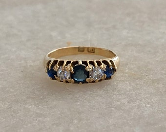 Sapphire and Diamond Eternity Band | 18k | Mid- Century