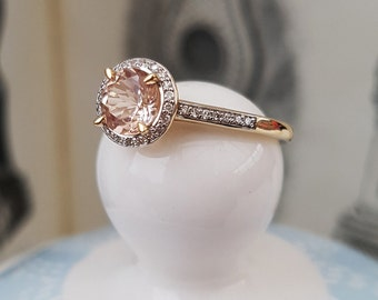 9ct Yellow Gold & Morganite Halo Ring with Diamonds - Engament Annivesary Dress Ring