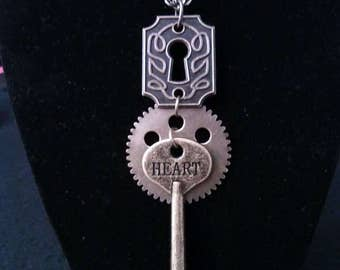 Heart Key and Keyhole Necklace