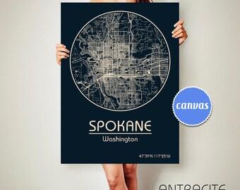 SPOKANE Washington CANVAS Map Spokane Washington Poster City Map Spokane Washington Art Print Spokane Washington