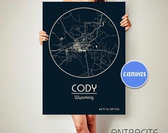 CODY Wyoming CANVAS Map Cody Wyoming Poster City Map Cody Wyoming Art Print Cody Wyoming poster Cody Wyoming map