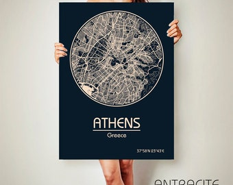 ATHENS Greece CANVAS Map Athens Greece Poster City Map Athens Greece Art Print Athens Greece poster Athens Greece map art Poster Athens  map