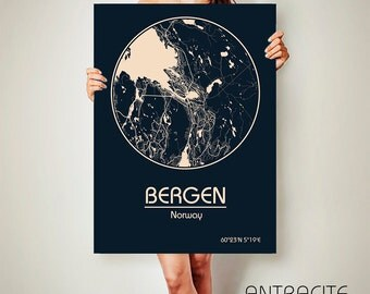 Bergen Poster Etsy - Norway map poster