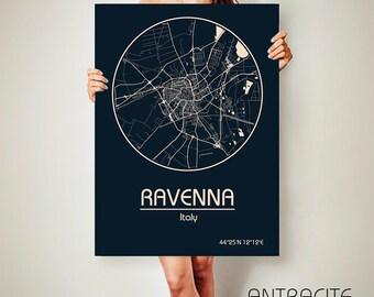 RAVENNA Italy CANVAS Map Ravenna Poster City Art Print