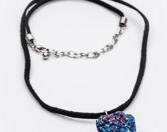 Blue Druzy Geode Necklace