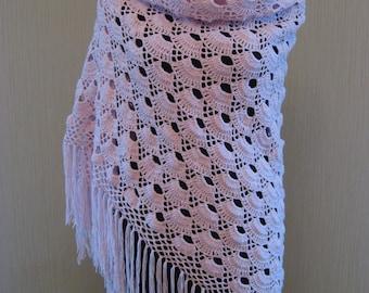 Shawl Pastel Pink Knit Crochet Handmade Demi Cotton Wrap Women's Gift Wedding Shawl