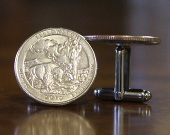 Yellowstone National Park Cuff Links, Wyoming Cufflinks, National Park gift, America the Beautiful 2010 coin
