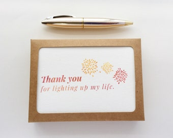 Watercolor Thank You Card Set / Watercolor Gratitude Card / Just Because Thanks Card / Watercolor Party Fireworks / Thank You Notes