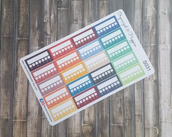Weekly Habit Tracker Planner Stickers Tracking Functional Planning Multi Color Matte Sticker Paper #S031