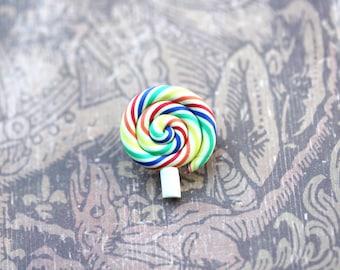 Itty Bitty Lollipop Pin- Rainbow Lollipop Brooch
