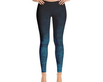 Blue Ombre Leggings - Grunge Blue and Black Leggings, Ombre Tights, Yoga Leggings, Yoga Pants, Stretch Pants