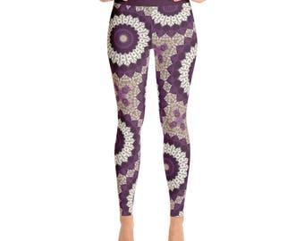 Leggings for Women With Designs - High Waist Yoga Pants, Beige Leggings, Mandala Pattern Printed Leggings