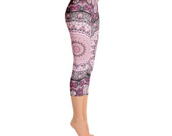 Capris - Sexy Leggings, Pink and Black Leggings, Yoga Pants Gifts for Her, Custom Leggings for Women, Mandala Fashion Tights