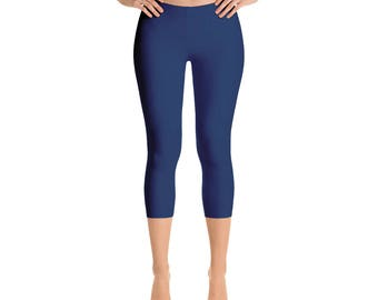 Capris - Indigo Leggings, Blue Yoga Pants for Women, Mid Rise Waist Workout Pants