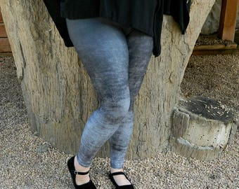 Plus Size Gray Leggings - Grunge Leggings, Black and Gray Ombre Leggings, Stretchy Yoga Pants