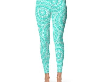 Turquoise Yoga Leggings - Turquoise Leggings, Blue and White Printed Leggings, Mandala Art Tights, Blue Stretch Pants