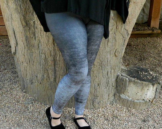 Featured listing image: Plus Size Gray Leggings - Grunge Leggings, Black and Gray Ombre Leggings, Stretchy Yoga Pants