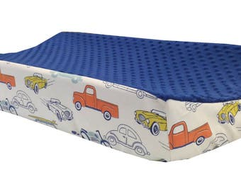 Vintage Cars - Navy Minky Changing Table Cover