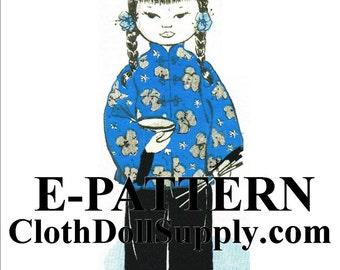E-Pattern – Miss China Cloth Doll Sewing Pattern #EP 910